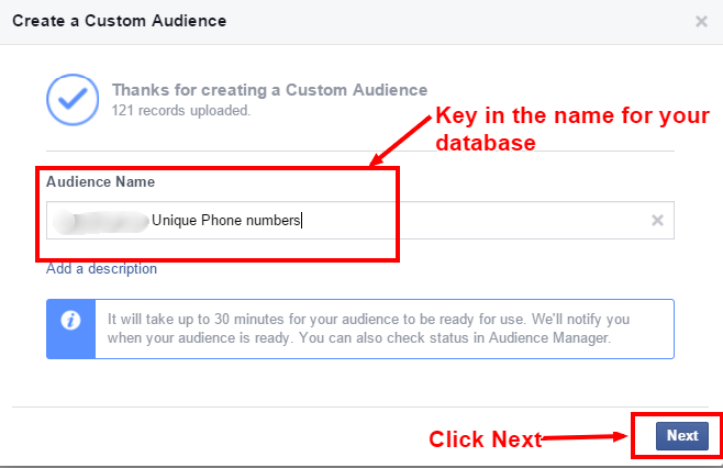 Custom audience - naming audience db