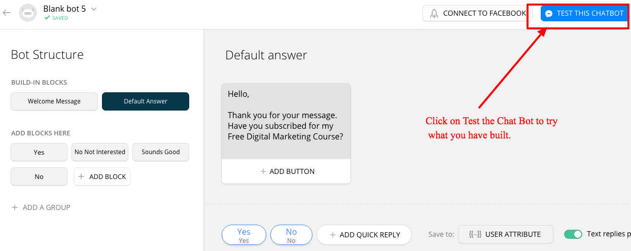 test your facebook messenger chat bot