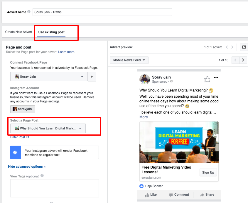 Facebook Boost Post Option