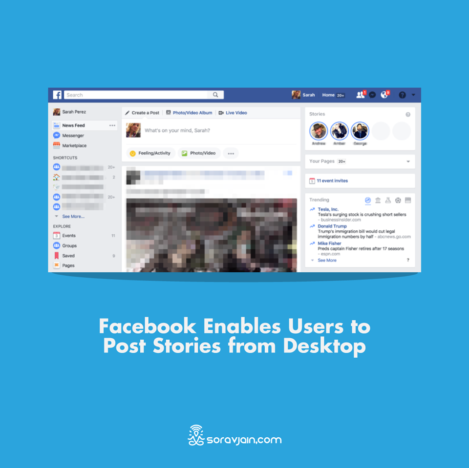 Facebook Enables Users to Post Stories from Desktop
