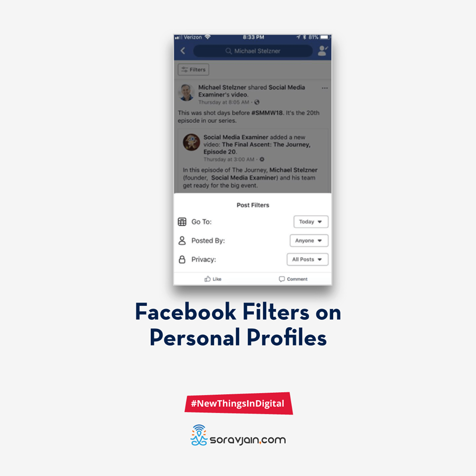 Facebook Filters on Personal Profiles
