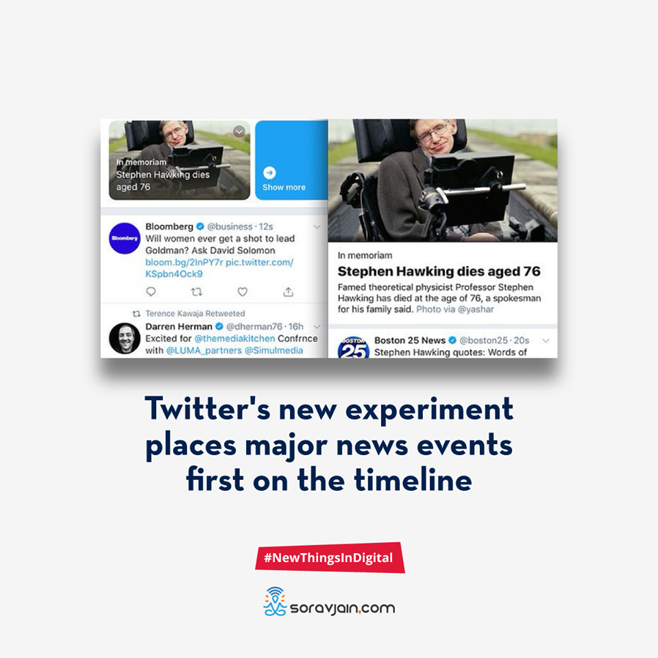 Twitter New Experiment Places Major News Events First on the Timeline