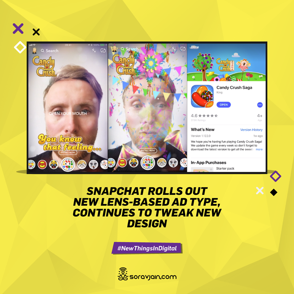 Snapchat Rolls Out New Lens-Based Ad Type, Continues to Tweak New Design