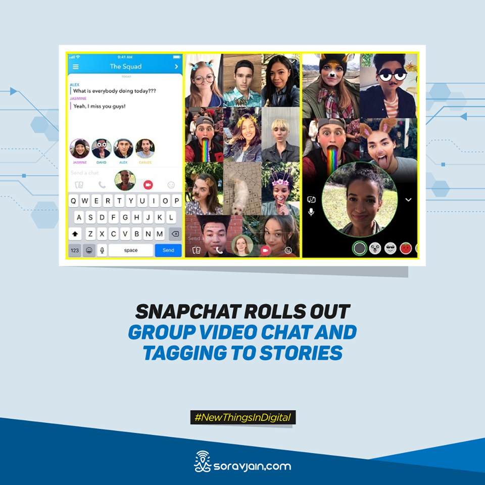 napchat Rolls Out Group Video Chat and Tagging to Stories: