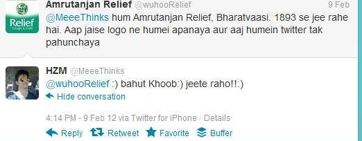 amrutanjan relief tweets - social media marketing