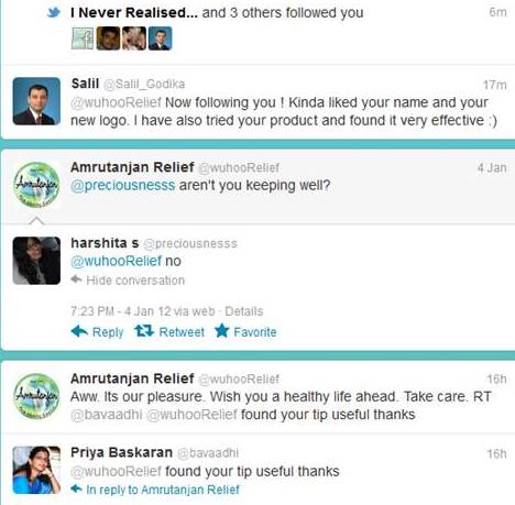 Social Media Marketing responses-amrutanjan relief