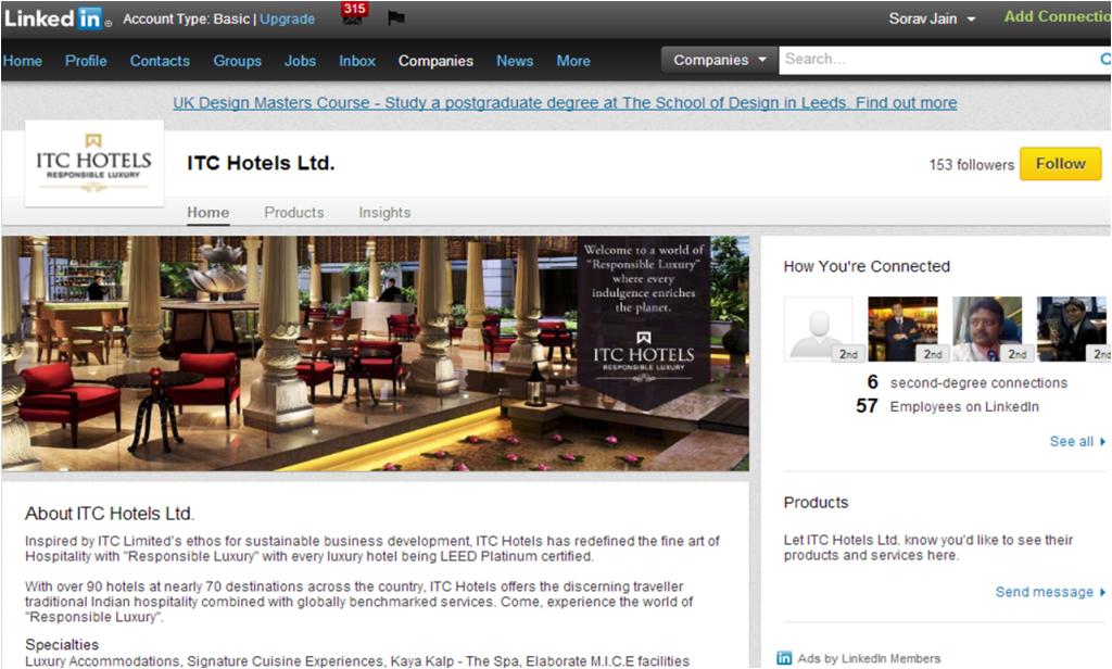 ITC Hotels LinkedIn Company Page