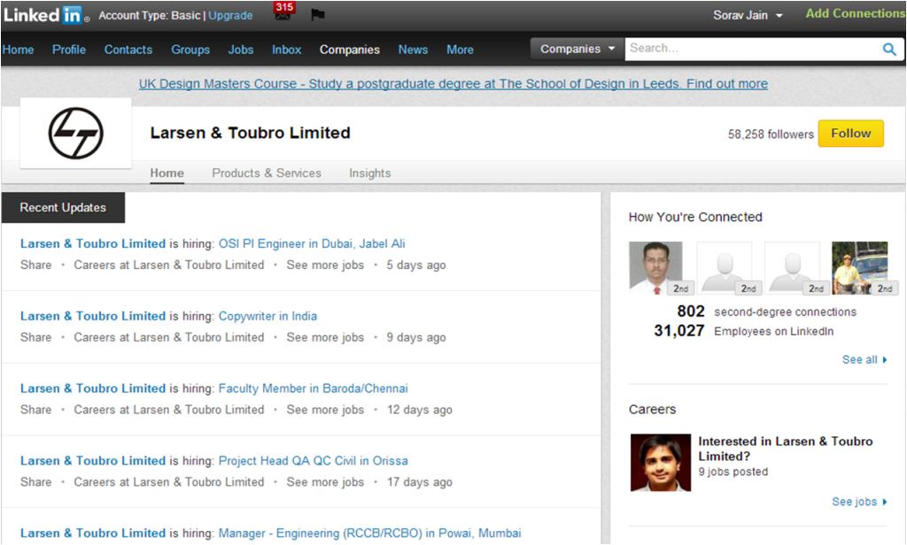 L & T Limited LinkedIn Company Page