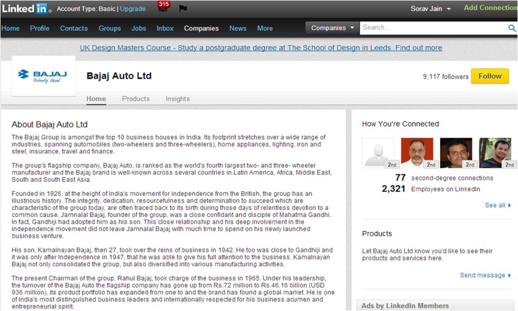 Bajaj LinkedIn Company Page
