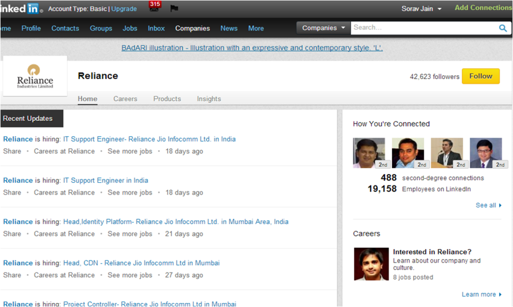 Reliance Industries LinkedIn Company Page