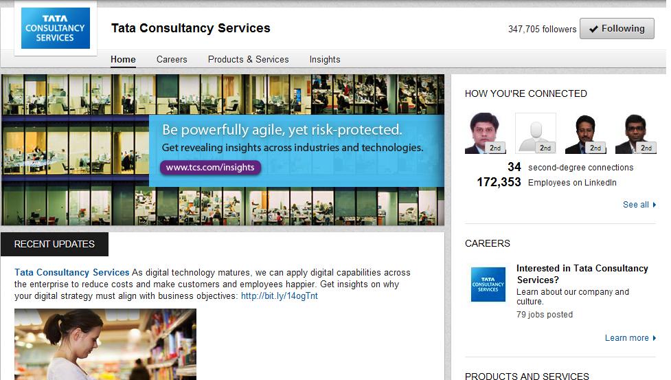 TCS LinkedIn Company Page