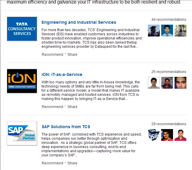 TCS Services Tab on LinkedIn Company Page