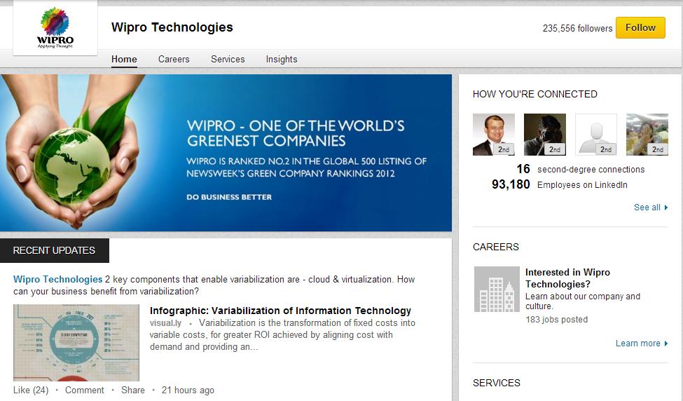 Wipro LinkedIn Company Page