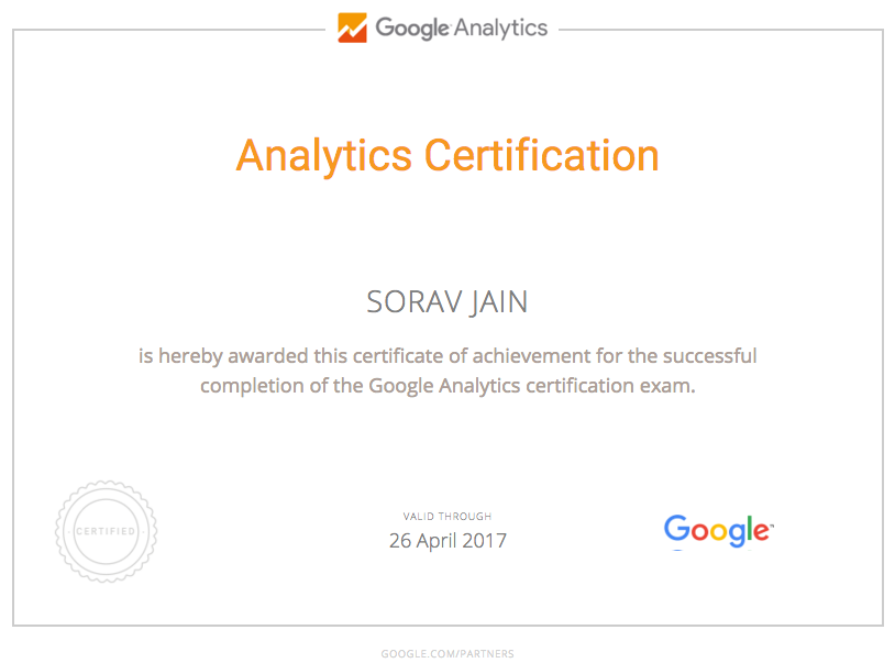 google Analytics certificate free