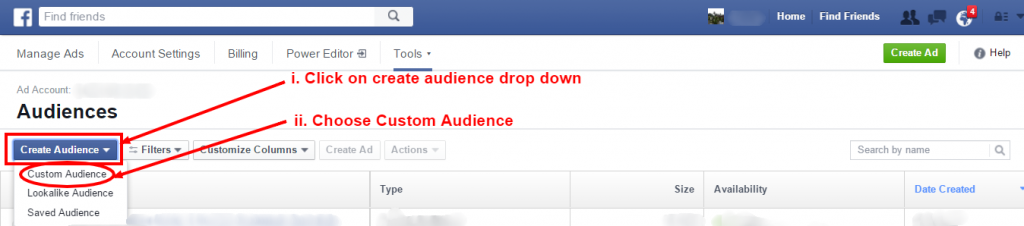 fb-Click on Audiences