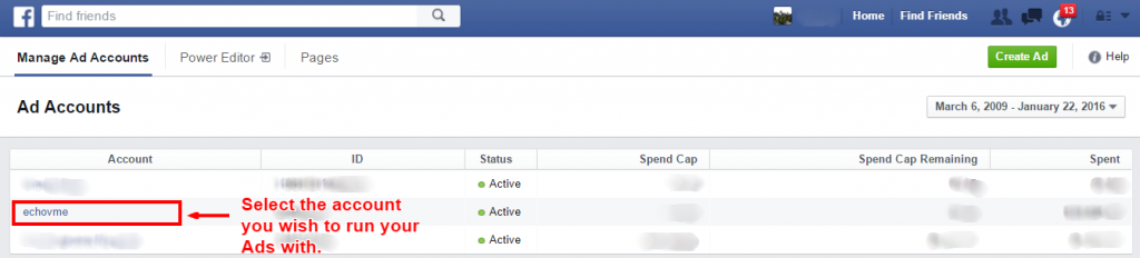 facebook ad manager-selecting ad account