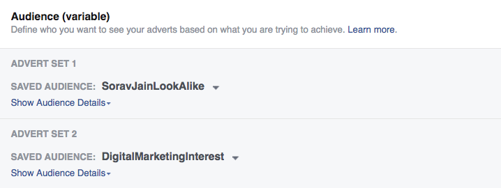 facebook audience split test A/B