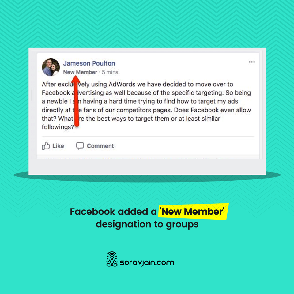 Facebook added a New Member designation to groups