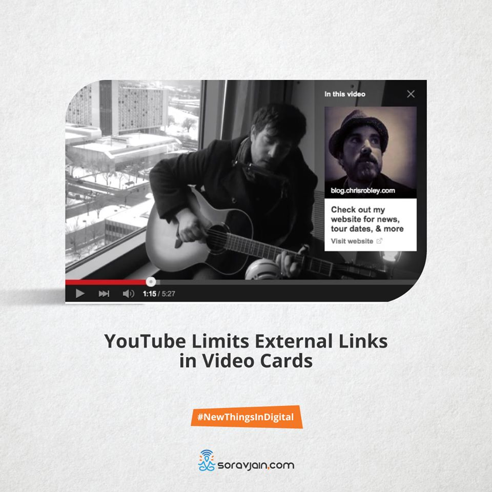 YouTube limits external links in video cards