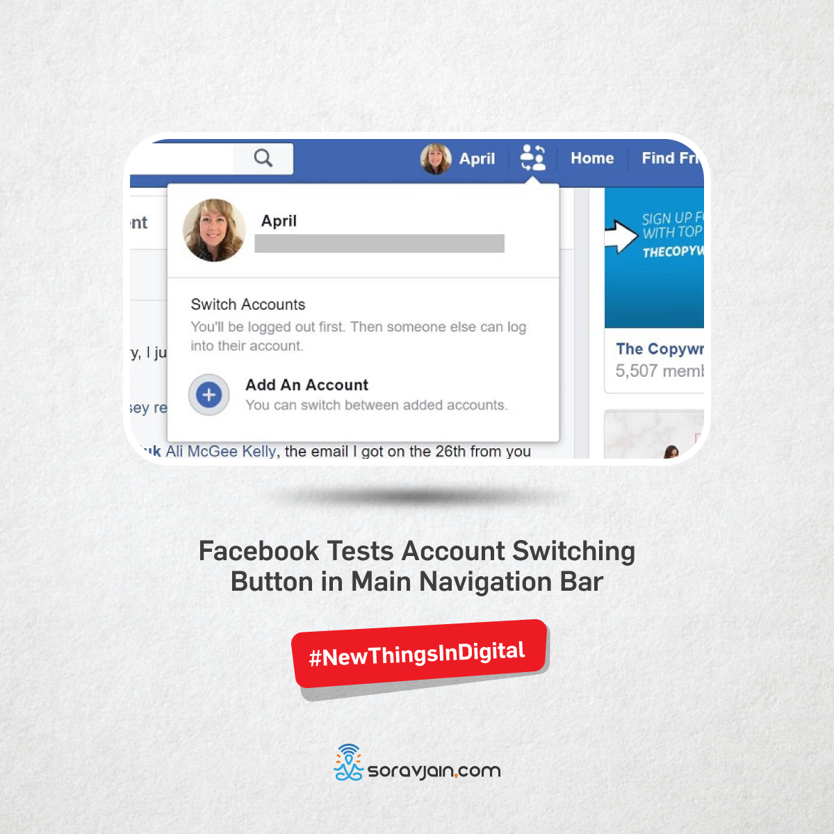 Facebook Tests Account Switching Button in Main Navigation Bar