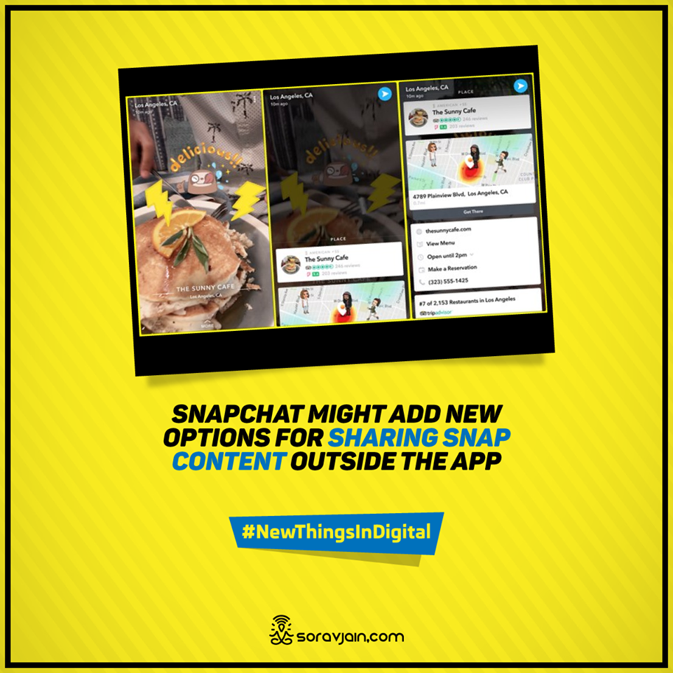Snapchat's might Add New Options for Sharing Snap Content Outside the App