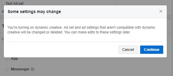 Dynamic Creative Ad Settings
