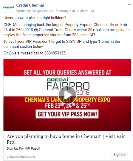 Learn How We Got 10,000+ Registrations For CREDAI Chennai