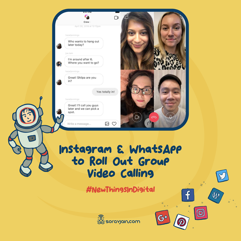 Instagram and WhatsApp to Roll Out Group Video Calling