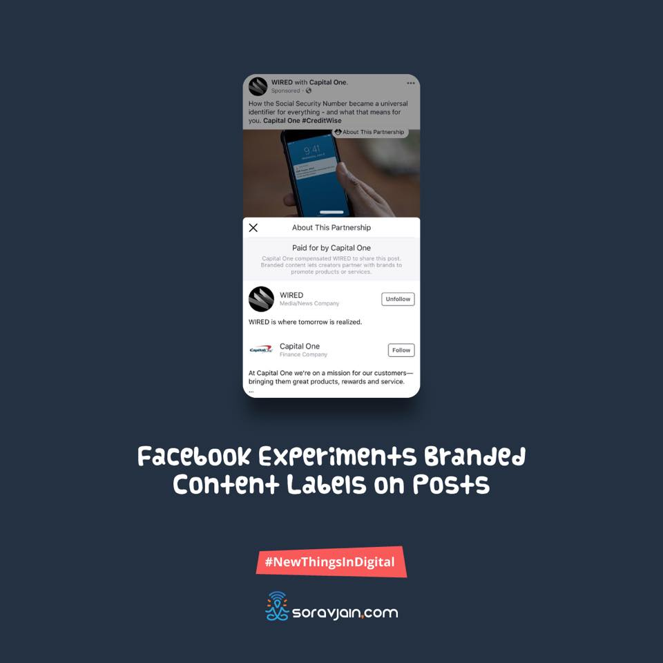 FacebookExperimentsBranded Content Labels on Posts