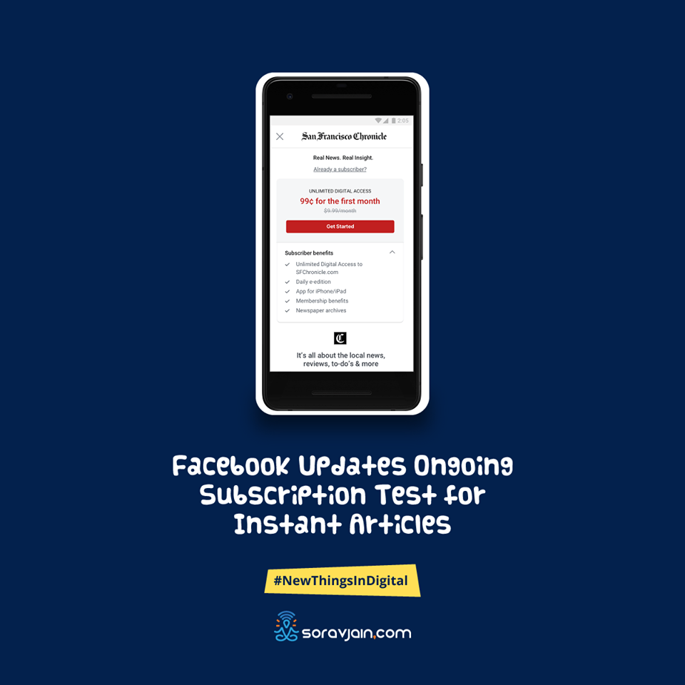 FacebookUpdates Ongoing Subscription Test for Instant Articles