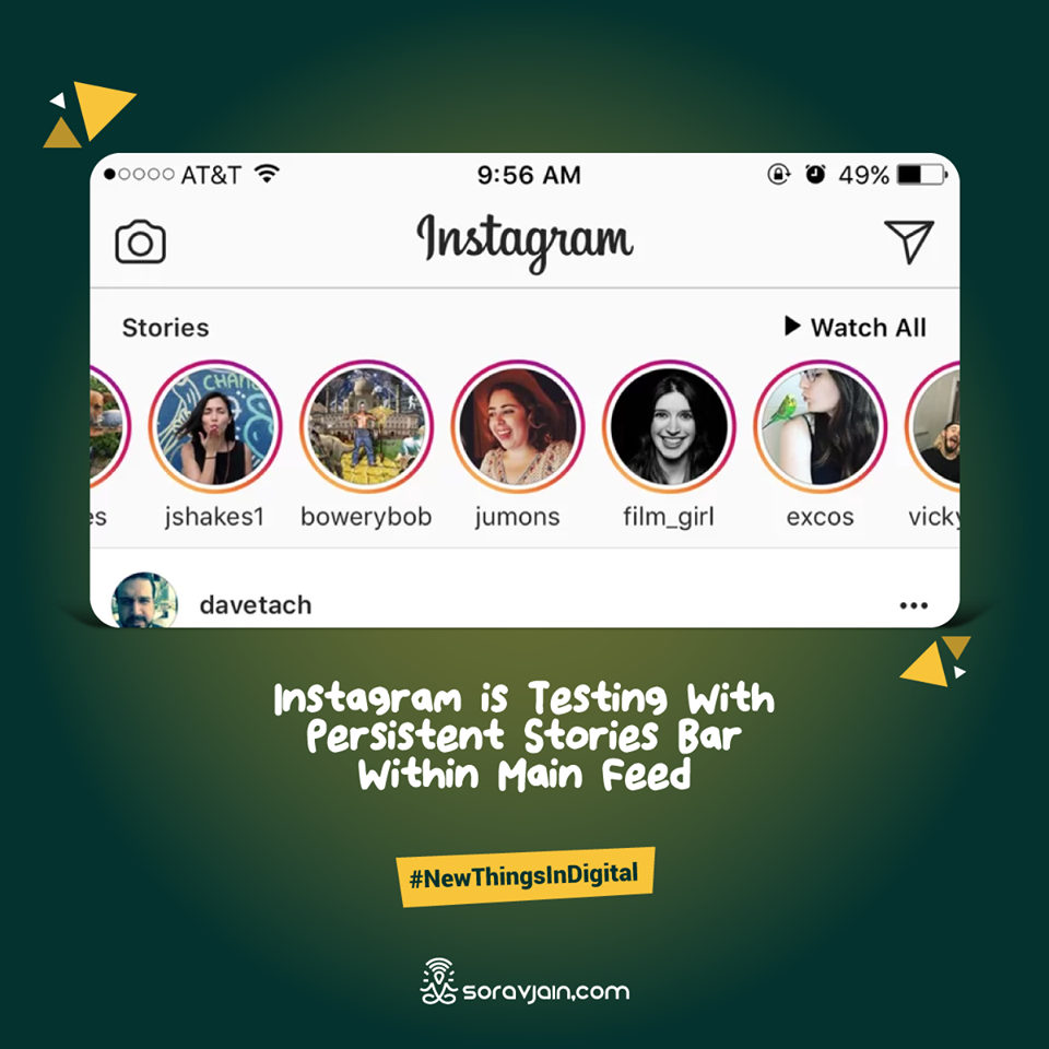 Instagram is Testing With Persistent Stories Bar Within Main Feed