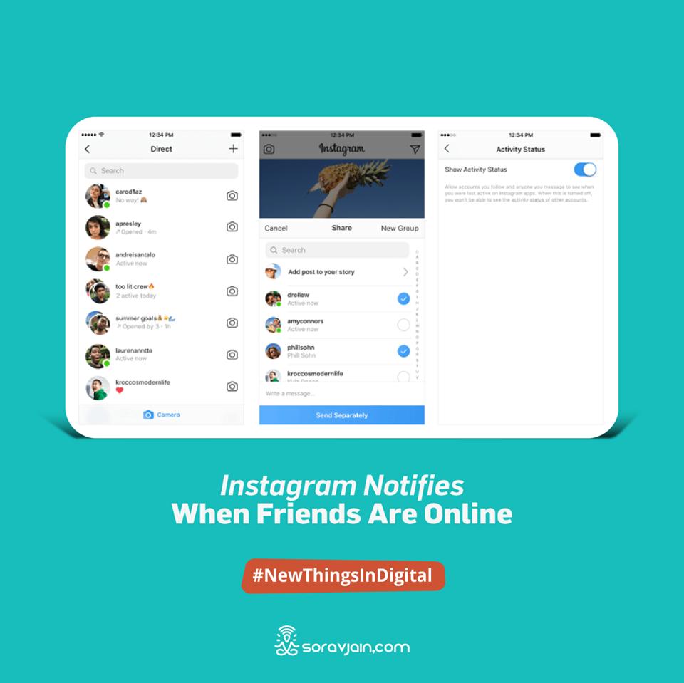 Instagram Notifies When Friends Are Online