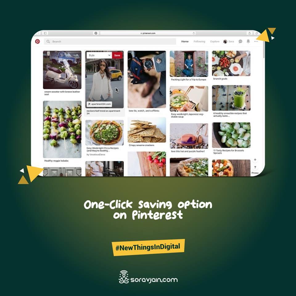 One-Click saving option on Pinterest