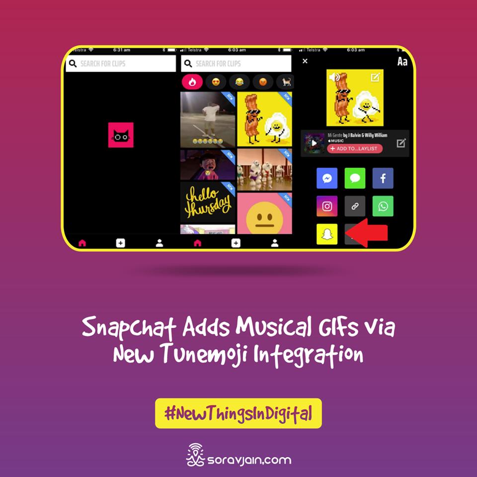 SnapChat Adds Musical Gifs Via New Tunemoji Integrations