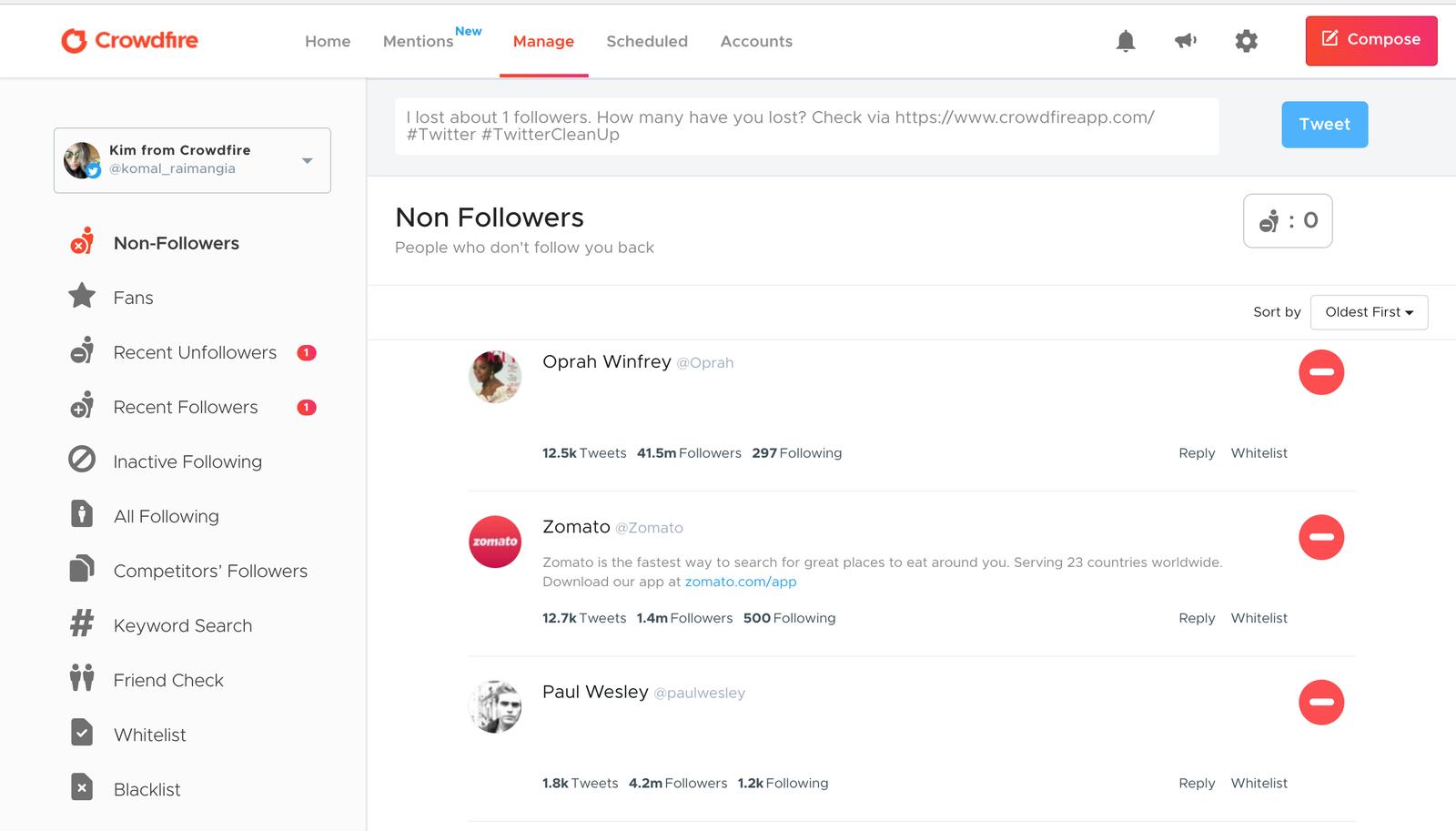 Twitter follower management