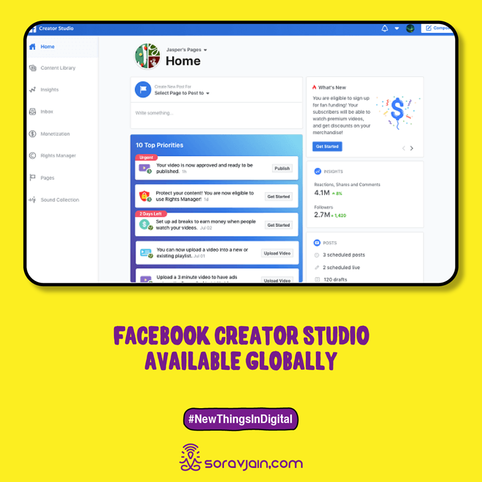 Facebook Creator Studio Available Globally
