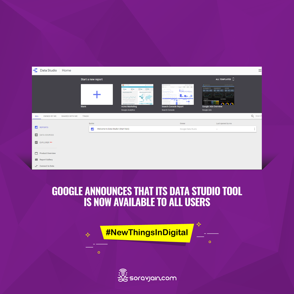 Google Announces That its Data Studio Tool is Now Available to All Users