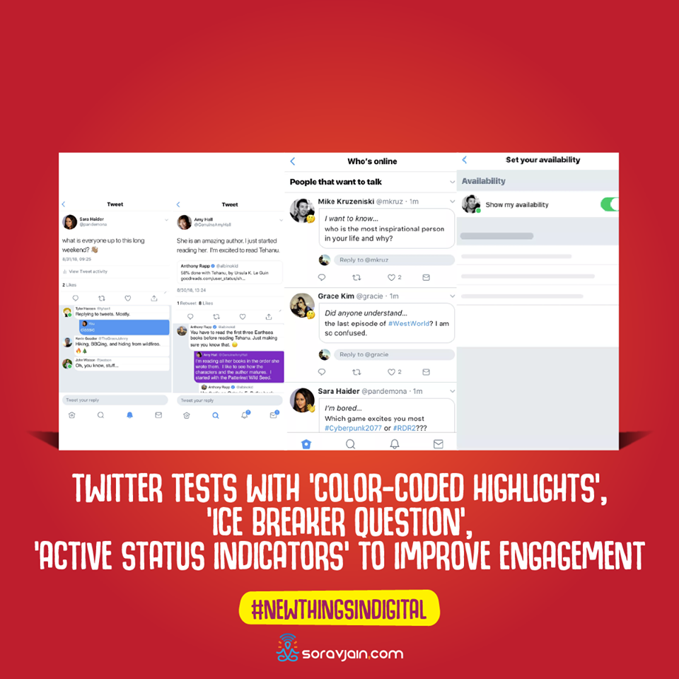Twitter Tests With 'Color-coded Highlights', 'Ice Breaker Question', 'Active Status Indicators' To Improve Engagement