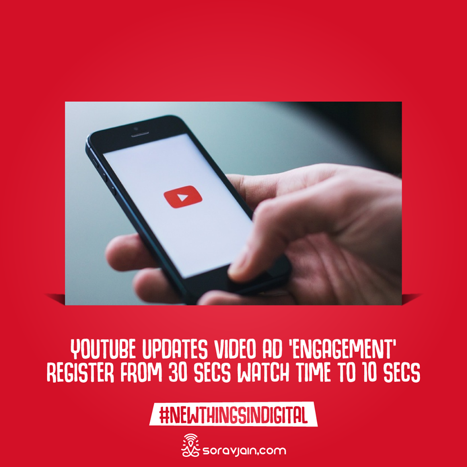 YouTube Updates Video Ad 'Engagement' Register from 30 Secs Watch Time to 10 Secs