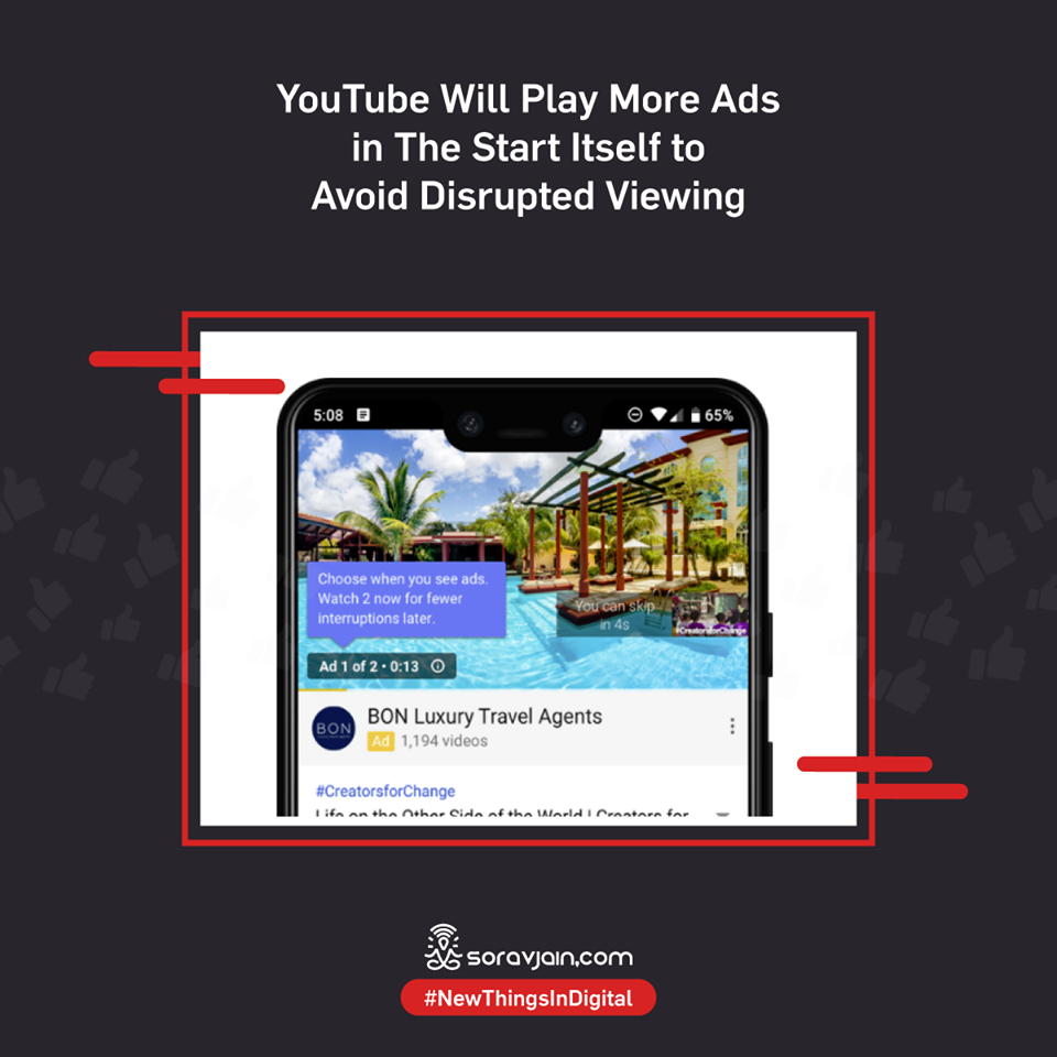 YouTube Will Play More Ads in The Start Itself to Avoid Disrupted Viewing