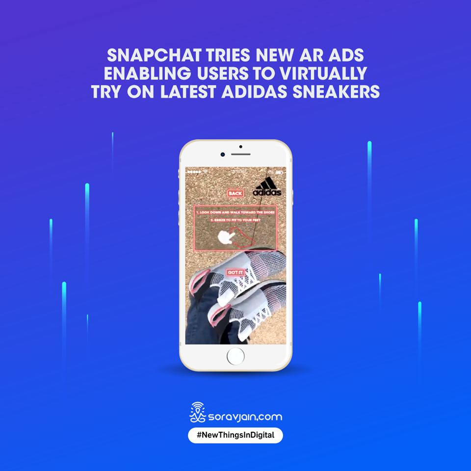 Snapchat Tries New AR Ads Enabling Users to Virtually Try on Latest Adidas Sneakers