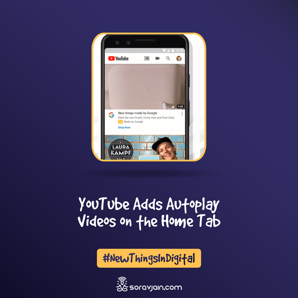 YouTube Adds Autoplay Videos on the Home Tab