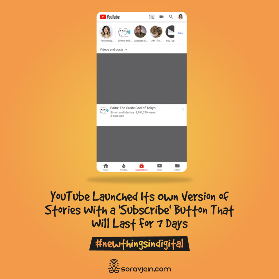 YouTube Launched Its Own Version of Stories With a 'Subscribe' Button That Will Last For 7 Days