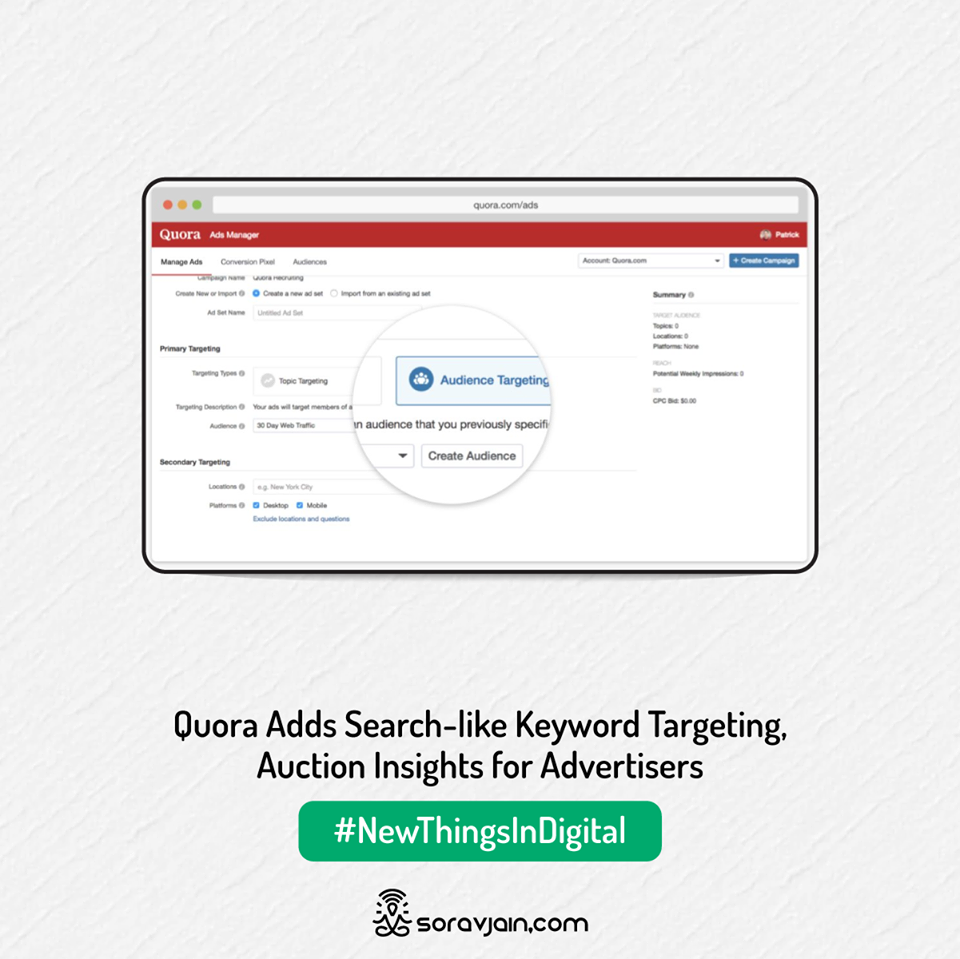 Quora adds search-like keyword targeting, Auction Insights for advertisers