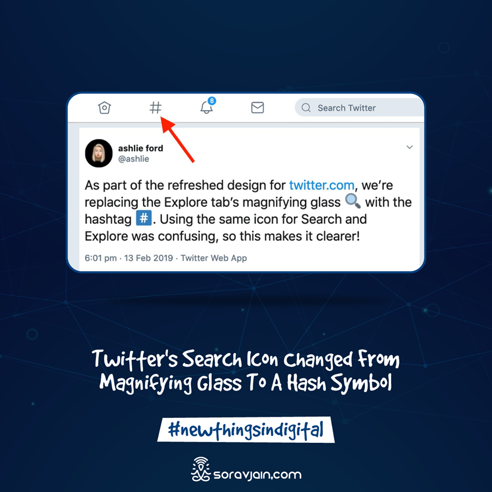 Twitter's Search Icon Changed From Magnifying Glass To A Hash Symbol