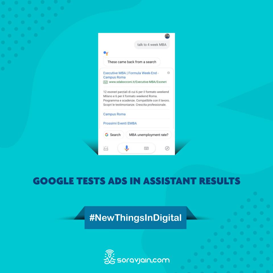 Google Tests Ads in Assistant Results
