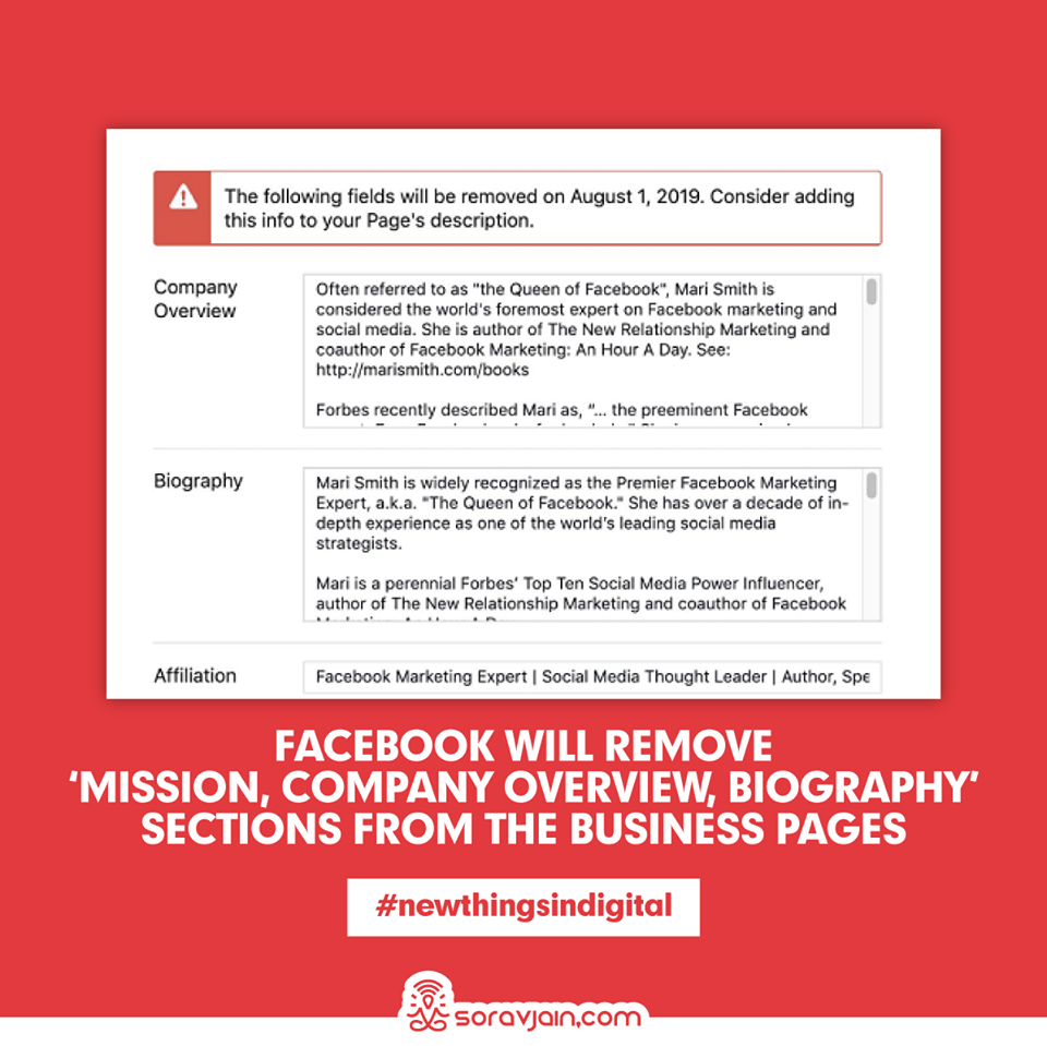 Facebook Will Remove 'Mission, Company Overview and Biography' Sections From The Business Pages