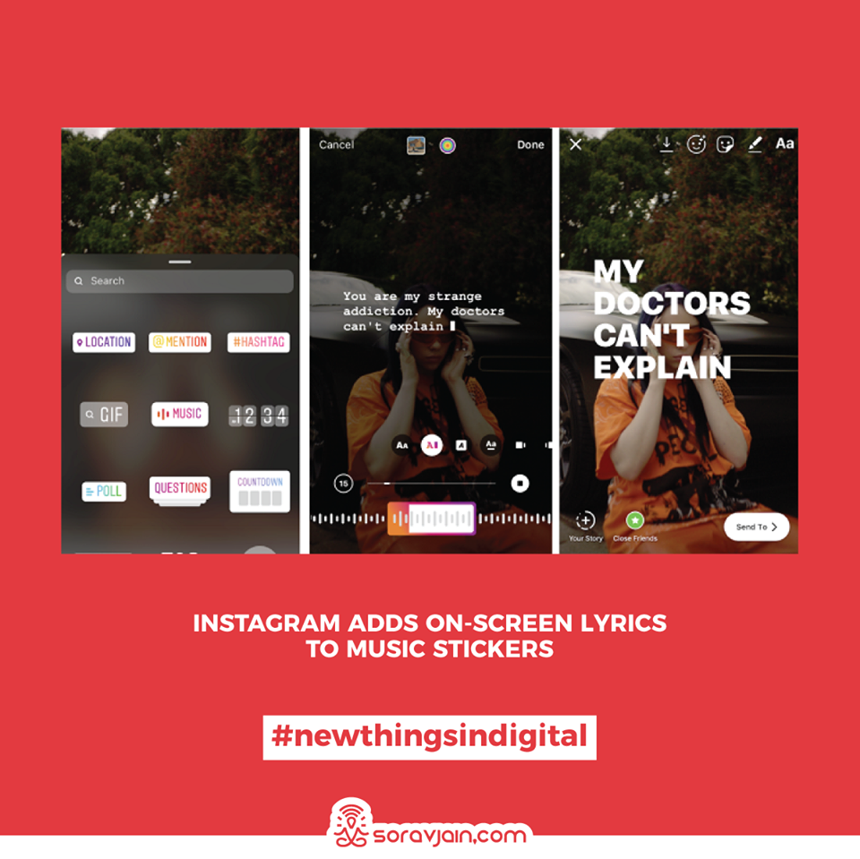 Instagram Adds On-Screen Lyrics to Music Stickers