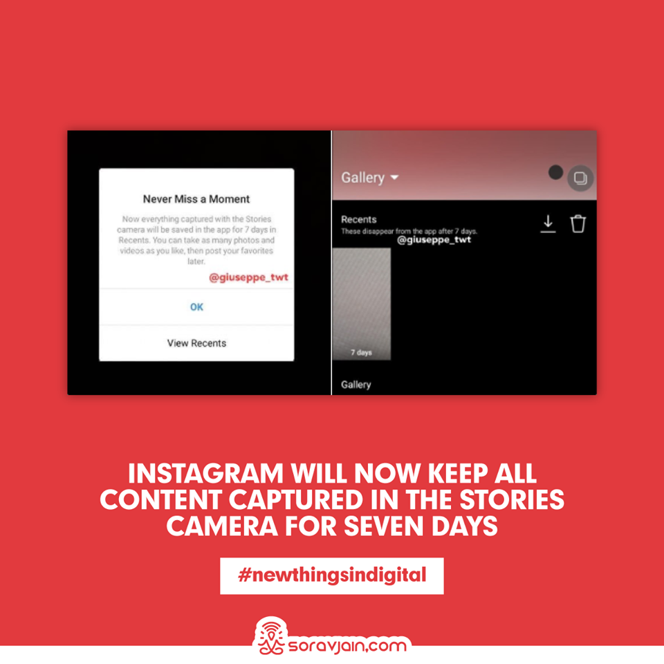 Instagram Will Now Keep All Content Captured in the Stories Camera for Seven Days