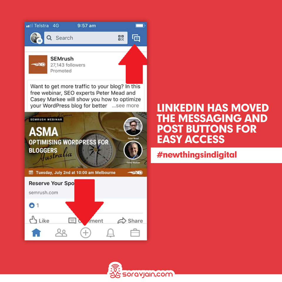 LinkedIn Has Moved The Messaging And Post Buttons For Easy Access
